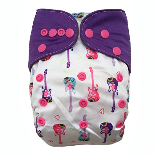 "HappyEndings ""Night, Night""» Charcoal Bamboo All In One Diaper (+Pocket & 5 Layer Charcoal Bamboo Insert) ""Rock Diva"""