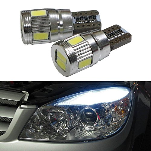 iJDMTOY (2) 6-SMD-5630 2825 W5W T10 Canbus Error Free LED Replacement Bulbs For Audi BMW Mercedes Porsche Parking Lights, License Plate Lights, Xenon White