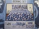 Bedding Set Blue and White Dinosaur Twin Reversible Comforter & Sheet Set
