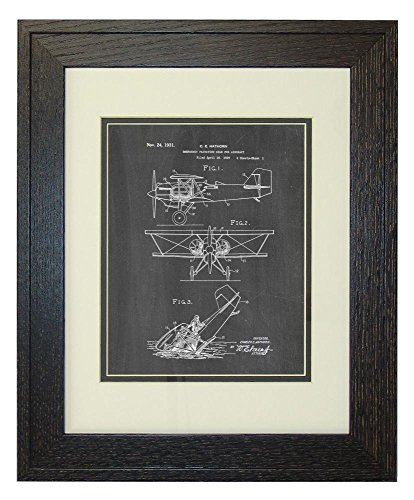 emergency-flotation-gear-for-aircraft-patent-art-chalkboard-print-in-a-rustic-oak-wood-frame-with-a-