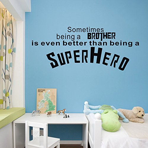 Superhero Sometimes Being A Brother -- Vinyl Wall Decal Inspiriting Lettering Home Art Stickers For Kids Room Living Room Nursery front-826512