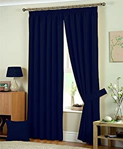 "NAVY BLUE JAQUARD SQUARES 66x72"" (168x183cm) PENCIL PLEAT FULLY LINED CURTAINS DRAPES from Curtains"