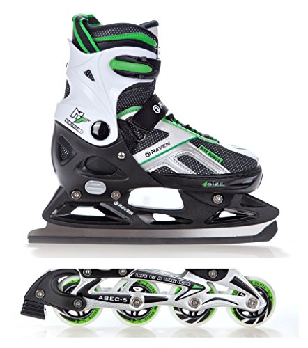 2in1-Schlittschuhe-Inline-Skates-Inliner-Raven-Pulse-BlackGreen-verstellbar