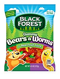 Black Forest Gummy Bears & Gummy Worms Candy, 4.5 Ounce Bag, Pack of 12