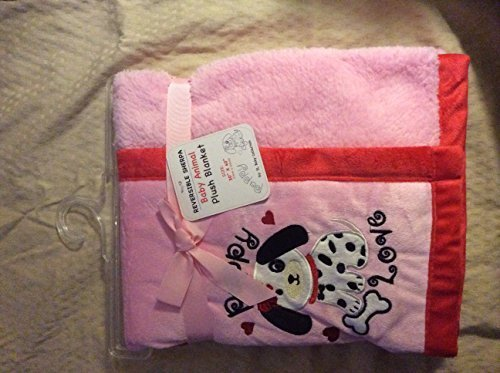 "Reversible Sherpa Baby Animal Plush Blanket ""Dalmatian Pink/red"""
