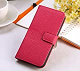 iphone5 iphone5sレザーケース 手帳型 スマホケース スタンドケース (濃いピンク)