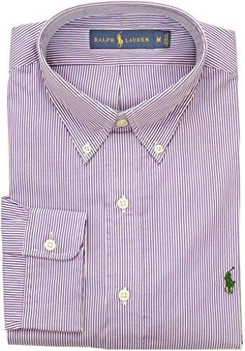 Polo Ralph Lauren Men's Classic-Fit Bengal-Striped Poplin Sport Shirt, Purple/White, XX-Large (Polo Classic Fit Button Down compare prices)