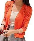 【PALERO・パレロ】選べる8色 レディース 春 夏 秋 UV対策 透かし編み 七分袖 レース カーディガン ショート丈 フリーサイズ (オレンジ)