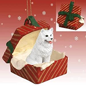 Samoyed Red Gift Box Christmas Ornament