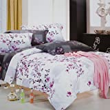 Blancho Bedding - [Plum in Snow] 100% Cotton Comforter Cover/Duvet Cover Combo