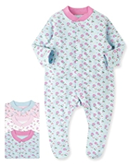 3 Pack Pure Cotton Ditsy Floral Sleepsuits