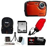Coleman C12WP 16MP/HD Waterproof Camera (Orange) + 8GB SD HC Memory Card + Point & Shoot Camera Case + Accessory Kit