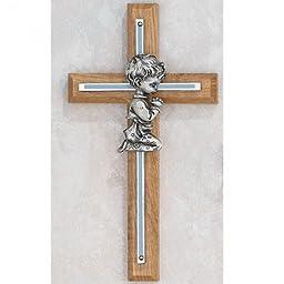 7 Wood OAK Silver/blue Praying Boy -Aluminum Cross Blue Pewter Praying Boy by Truefaithgifts