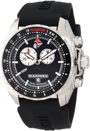 Wrist Armor Mens WA131 C3 Stainless Steel Analog Display Swiss Quartz Chronograph Watch with Black Silicone Strap<br />