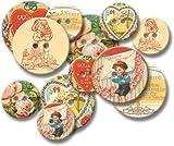Jenni Bowlin Studio Chipboard Buttons 12/Pkg. Vintage Valentine