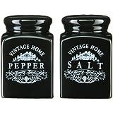 Premier Housewares Vintage Home Salt and Pepper Set - Black