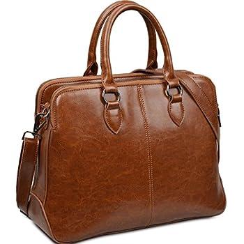 "Yahoho Women's Double Zipper Genuine Leather Tote Office Lady Top Handle Cross Body Shoulder Bag fit 13"" Laptop"
