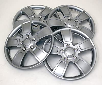TuningPros WSC-220S14 Hubcaps Wheel Skin Cover 14-Inches Silver Set of 4