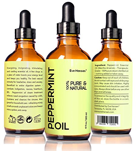 Top Rated Peppermint Oil by Eve Hansen - 4 fl.oz - Safe For Ingestion - 100% Natural & Undiluted! It Works or Money Back! Therapeutic Grade Essential Oil with Glass Dropper and Free e-Book!!