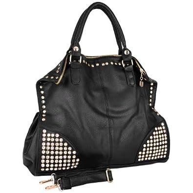 MG Collection ARRIAN Black Gothic Rhinestone Studded Shopper Hobo Handbag