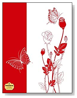 Red Rosebuds On White Notebook - Classy red and white drawing of rosebuds and butterflies make a dramatic cover for this college ruled notebook.