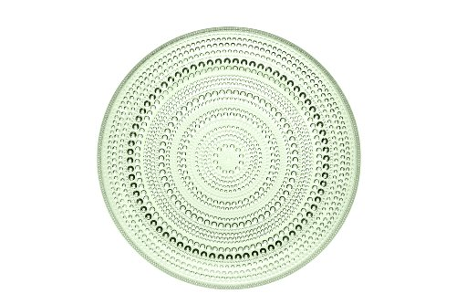 iittala Kastehelmi Dew Drop Round Glass Plate in Apple Green, 10-1/2-Inch Diameter