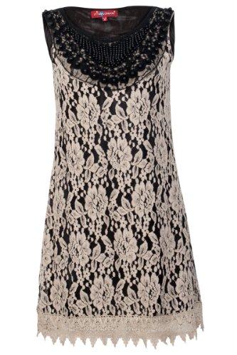 New Uttam London Ladies Beige Lace Beaded Ladies Floral Mini Dress Size 8