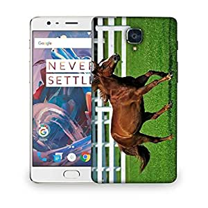 Snoogg Brown Horse Running Designer Protective Phone Back Case Cover For OnePlus 3