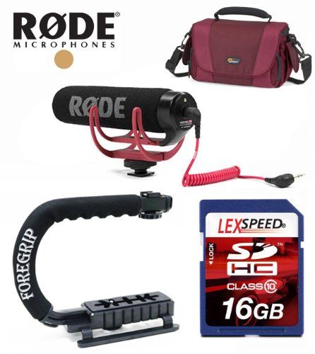 Rode Mic For Canon Eos Sl1 T5I, T4I, T3I, T3, T2I - Videomic Go Lightweight On-Camera Microphone W/ Lowepro Video Bag, Action Grip Handle, 16Gb Deluxe Kit