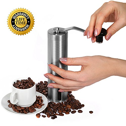 Jovs Best Premium Burr Conical Grinder for Manual Use - Professional Portable Hand Coffee Bean Mill of Stainless Steel - Set has bonus brush, coffee spoon, bag - Limited offer - Investment protection