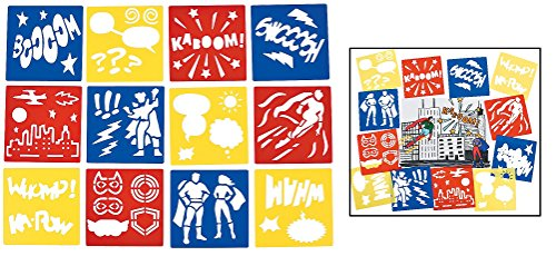 "Superhero Stencils (12 Pack) Plastic. 5"" x 5"". Super Hero"