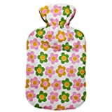 Warm Tradition Daisies Cotton Flannel Hot Water Bottle - Bottle made in Germany, Cover made in USA