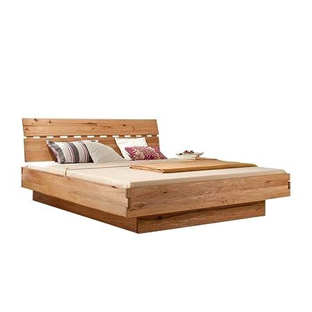Bett in Schwebeoptik Wildeiche Massivholz Breite 146 cm Liegefläche 140x200 Stutz-Steg Ohne Pharao24