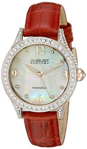 August Steiner Women's Round White Dial Three Hand Quartz Strap Watch