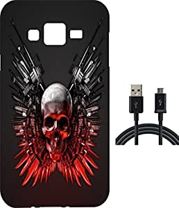 BKDT Marketing Printed back cover for Samsung Galaxy J7 with ChargingCable