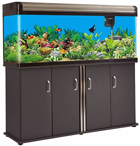133 Gallon Glass Fish Tank Reef Aquarium, with Filter System, T8 Lighting System, and Cabinet Stand, for Fresh or Salt Water