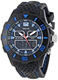 Breda Mens 9309-Blue Drew Large Digital Chronograph Rubber Band Watch