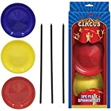 Circus 3 Spinning Plates with Sticks Set Balancing Act Toy