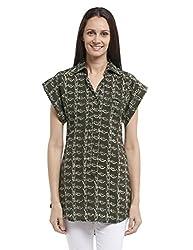 Fabindia Women's Hand Block Printed Tunic (10296187_Natural and Black_Small)