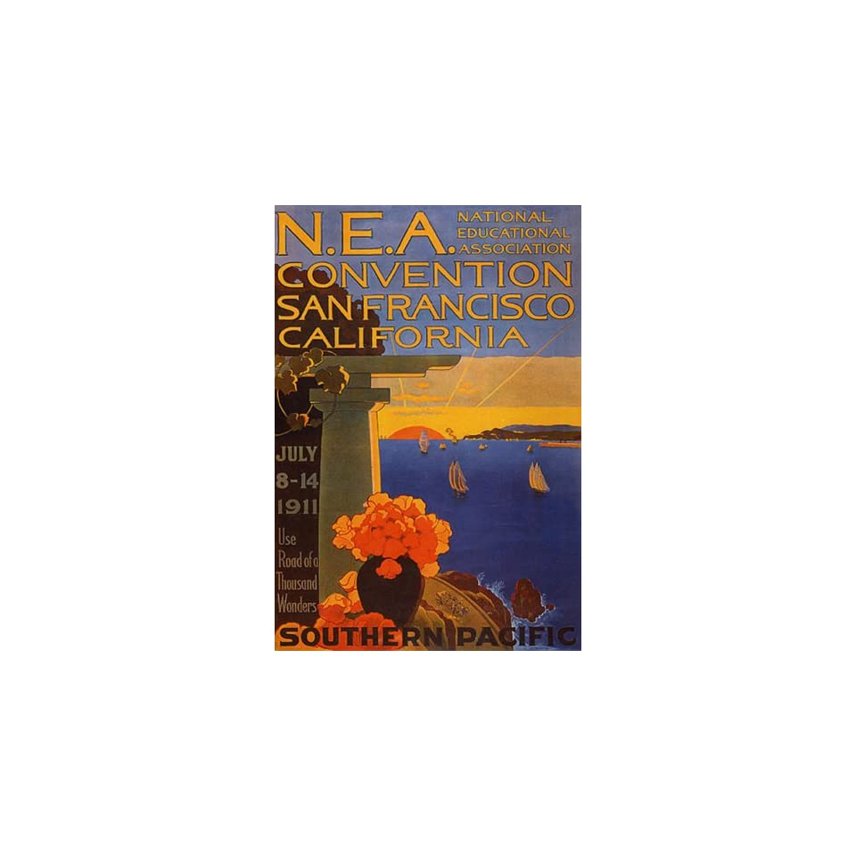 EDUCATIONAL CONVENTION SAN FRANCISCO CALIFORNIA SAILBOAT 14 X 18 VINTAGE POSTER REPRO