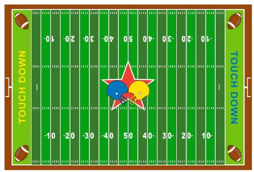 Fun Rugs FT-121 3958 Football Field Childrens Rug, 39-Inch by 58-Inch - 1