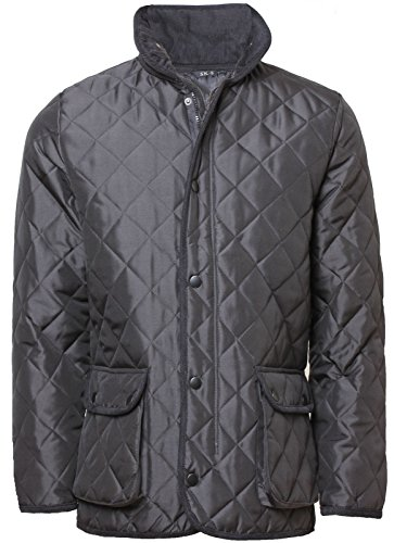Red Car Men's Diamond Padded Quilted Hunter Style Jacket X-Large Black