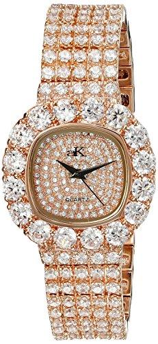 Adee Kaye Bijou ak26-LRG/CR 32.5x38.7mm Brass Case Rose Gold Brass Mineral Women's Watch