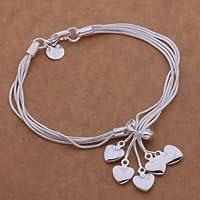 Fashion Beautiful 925 Silver CuffFive Heart Pendant Bracelet,for Women, Teen Girls, Young Girls, and Men.Velvet Pouch by Tianhong