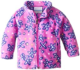 Columbia Baby-Girls Newborn Benton Springs II Printed Fleece Jacket, Foxglove Print, 3-6 Months