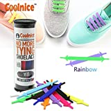 Coolnice Silikon schnürsenkel für Kinder zu Elder Umweltverträgliche Wasserdicht nie verschmutzt kein Krawatte schnürsenkel - Regenbogen Farbe