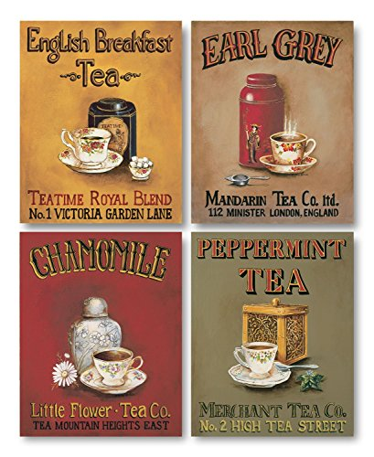 Tea Time! Vintage Tea Signs; Earl Grey, English Breakfast, Chamomile and Peppermint; Four 8 x 10 Prints
