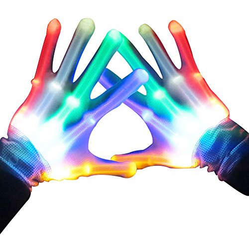 LED Gloves, Light up for Raves, Glow Skeleton Gloves