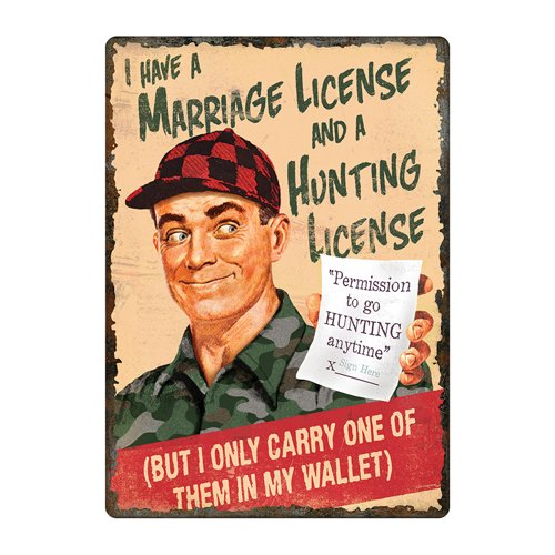 River's Edge Marriage & Hunting License Tin Sign