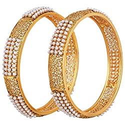 Youbella Gold Plated Pearl Studded Bangle Set For Women And Girls (2.4)
